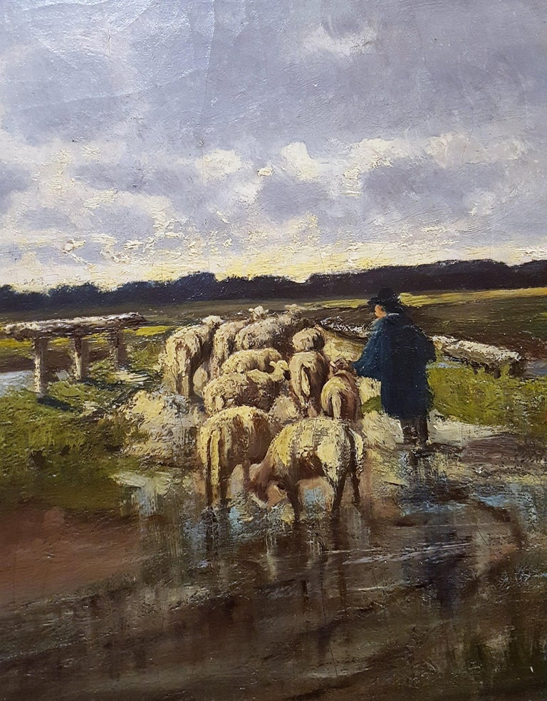 Shepherd with Sheep Pastoral Landscape For Sale 8