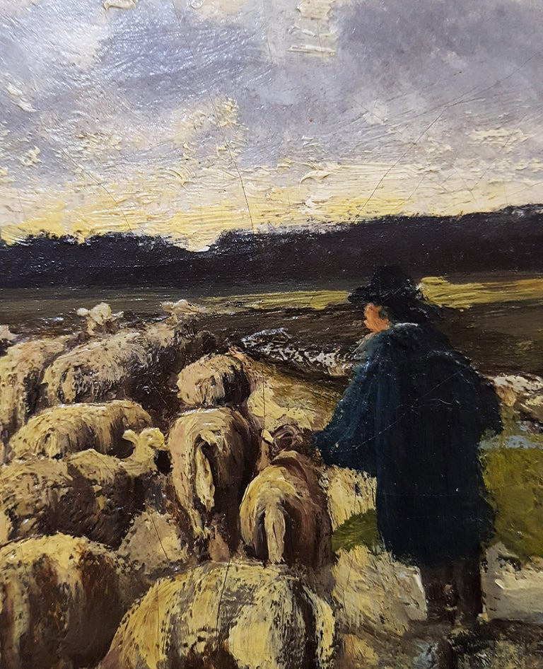 Shepherd with Sheep Pastoral Landscape For Sale 9