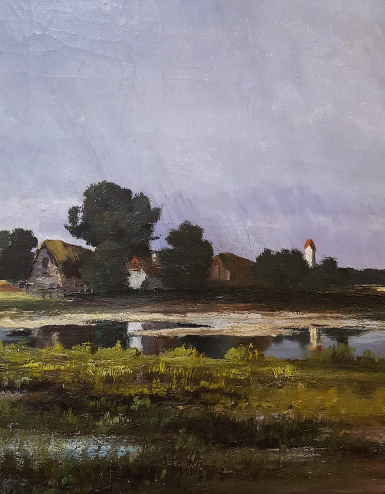Shepherd with Sheep Pastoral Landscape For Sale 10