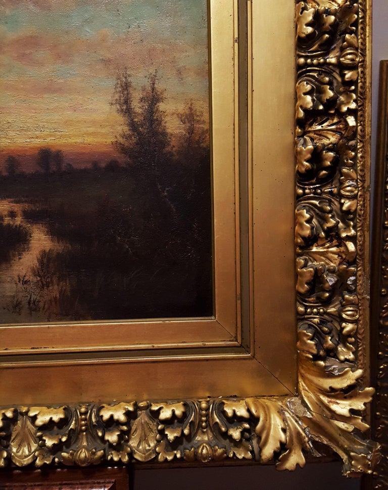 Cottage Landscape with Geese at Twilight For Sale 2