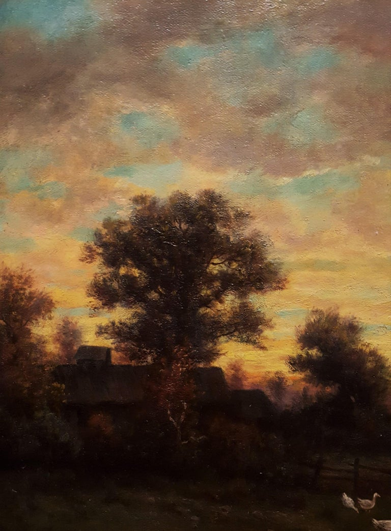 Cottage Landscape with Geese at Twilight For Sale 5