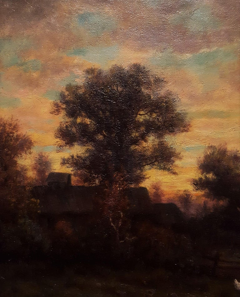 Cottage Landscape with Geese at Twilight For Sale 6