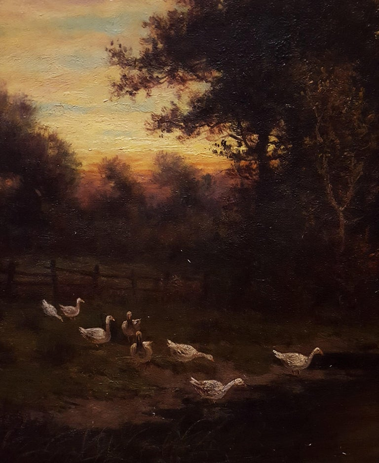 Cottage Landscape with Geese at Twilight For Sale 7