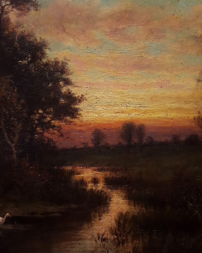 Cottage Landscape with Geese at Twilight For Sale 9
