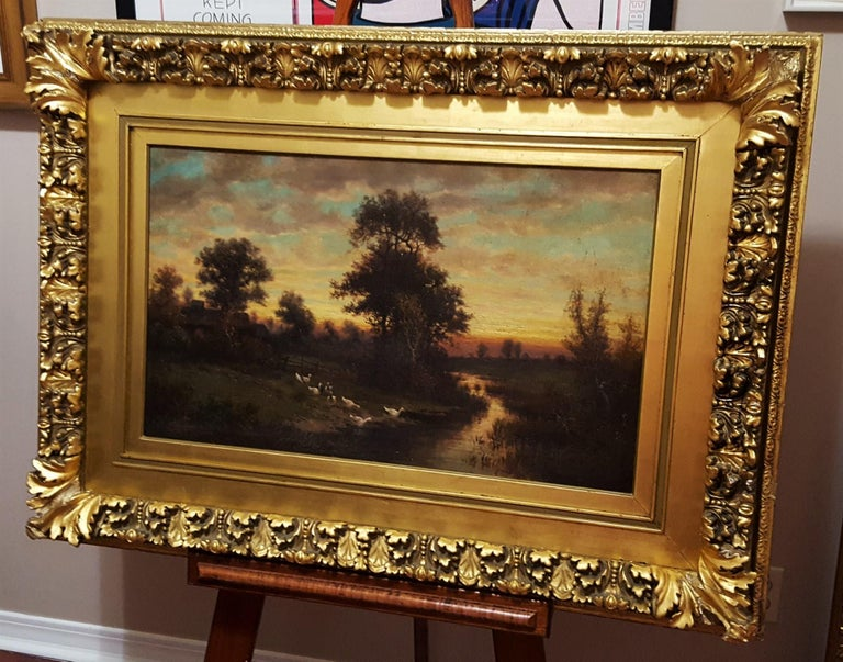 Cottage Landscape with Geese at Twilight For Sale 10