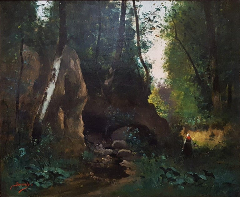 Unknown Landscape Painting - Woman in Forest Landscape