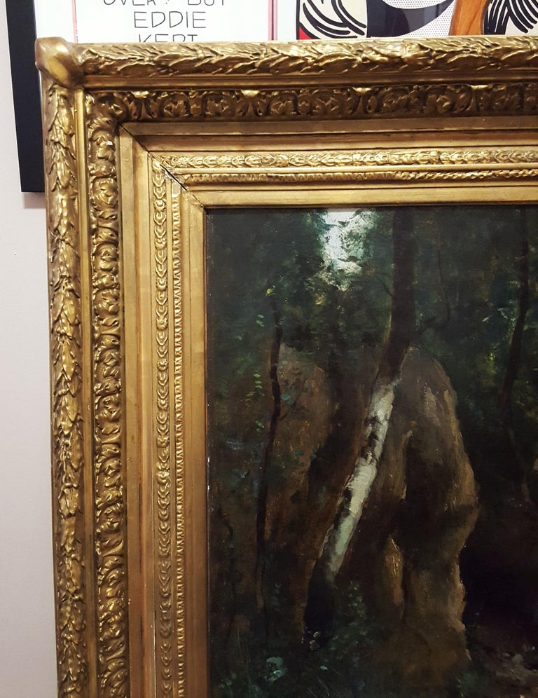 Woman in Forest Landscape - Black Landscape Painting by Unknown