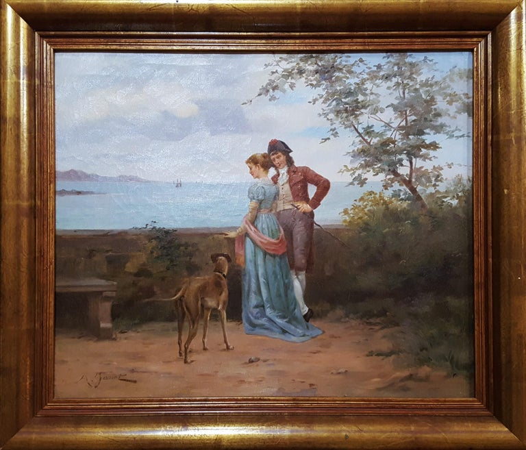 Cavalier with Lady and Dog Seascape - Painting by Ange-Louis Janet