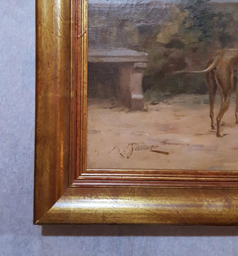 Cavalier with Lady and Dog Seascape - Victorian Painting by Ange-Louis Janet