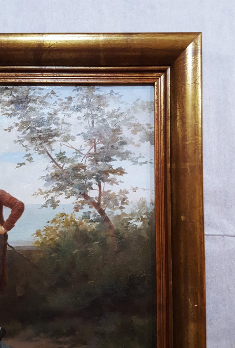 An original signed oil painting on canvas by French artist Ange-Louis Janet (1815-1872) titled