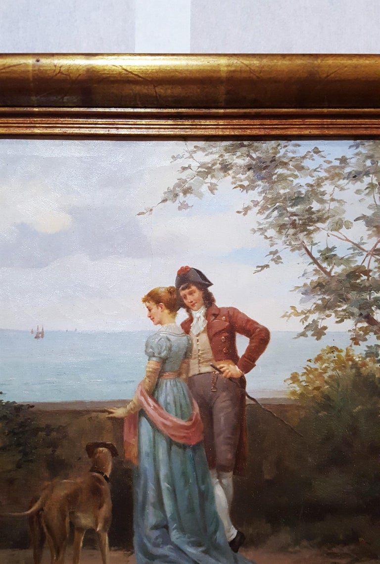 Cavalier with Lady and Dog Seascape For Sale 2