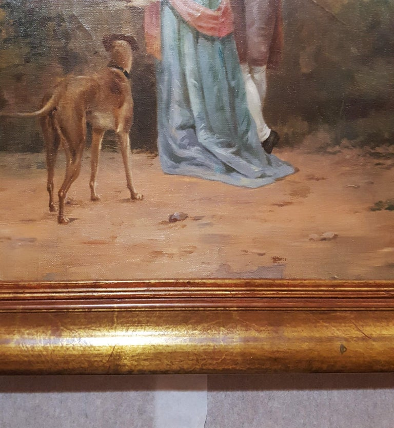 Cavalier with Lady and Dog Seascape For Sale 3