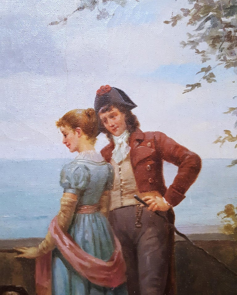 Cavalier with Lady and Dog Seascape For Sale 4