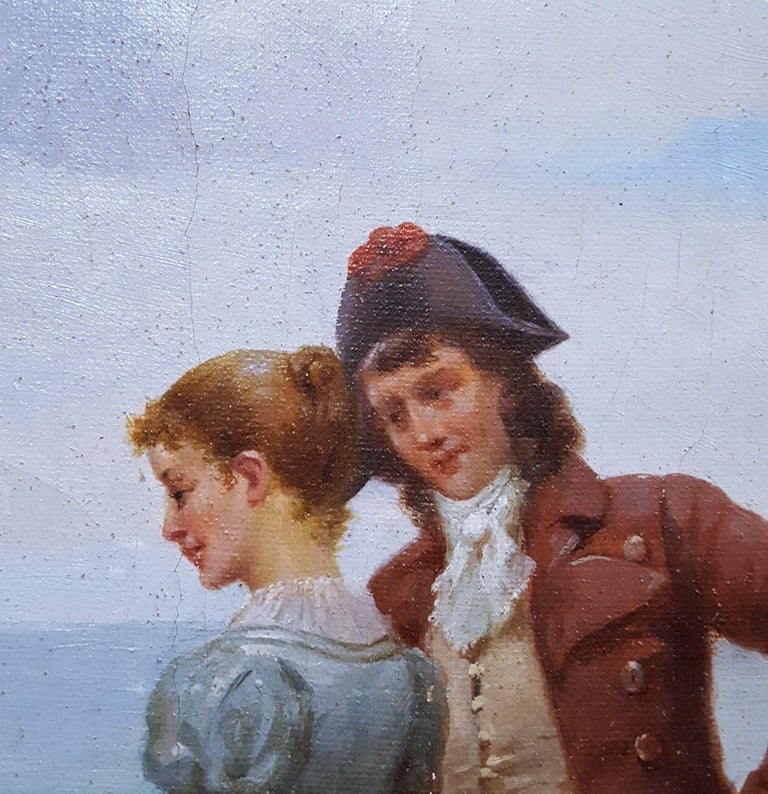 Cavalier with Lady and Dog Seascape For Sale 5