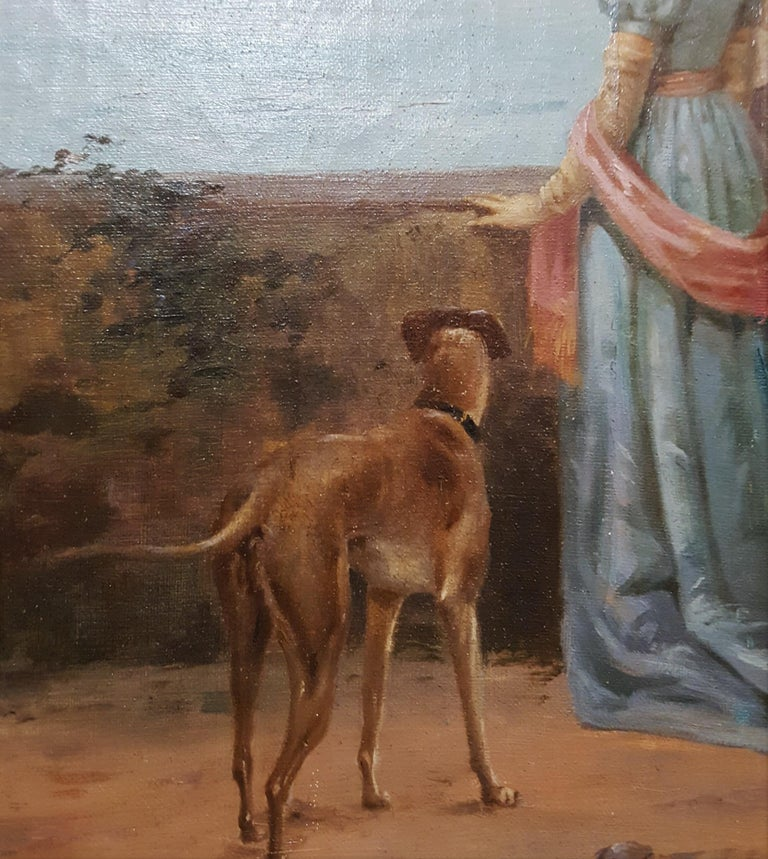 Cavalier with Lady and Dog Seascape For Sale 6