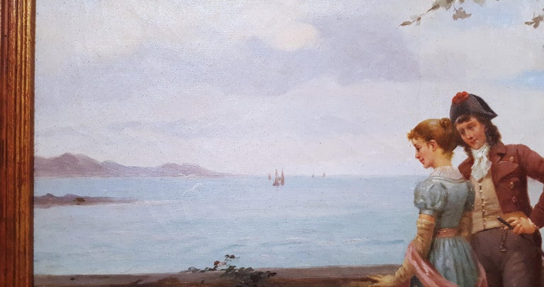 Cavalier with Lady and Dog Seascape For Sale 8