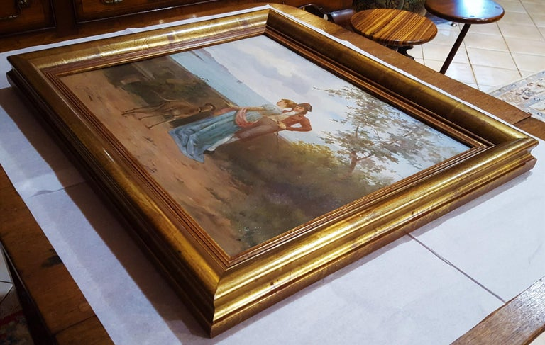 Cavalier with Lady and Dog Seascape For Sale 11