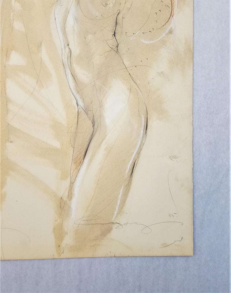 An original signed pencil, colored pencil, pastel, and watercolor on Schoellers Parole cream wove paper by German artist Jurgen Gorg (1951-) illegibly titled lower left, 1985. Hand pencil signed and dated by Gorg lower right, and titled lower left.
