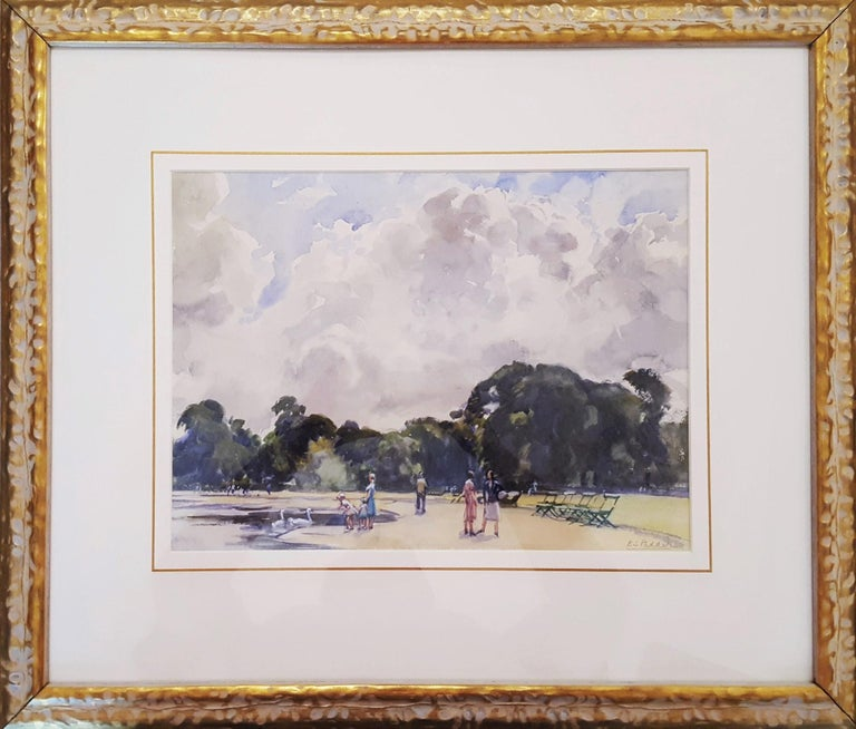 The Round Pond, Market at Concarneau, Brittany, France - Art by Beatrice Stella Pedder