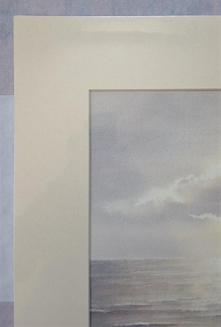 Bamburgh Castle Sunrise, Northumberland - Gray Landscape Art by Gillie Cawthorne