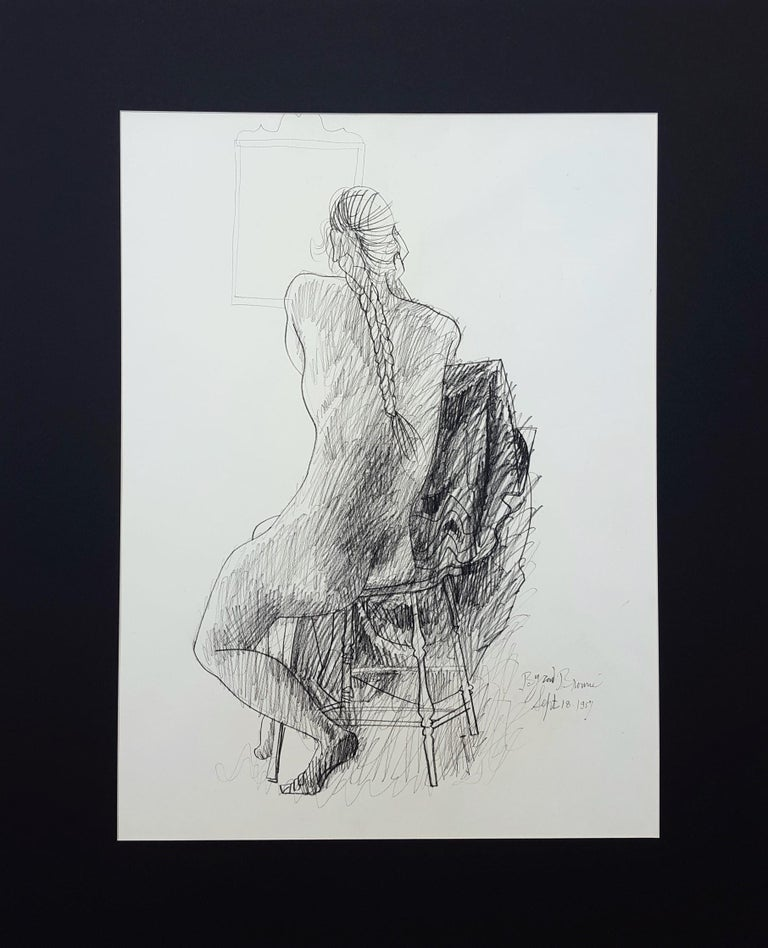 Seated Nude with Mirror - Modern Art by Byron Browne