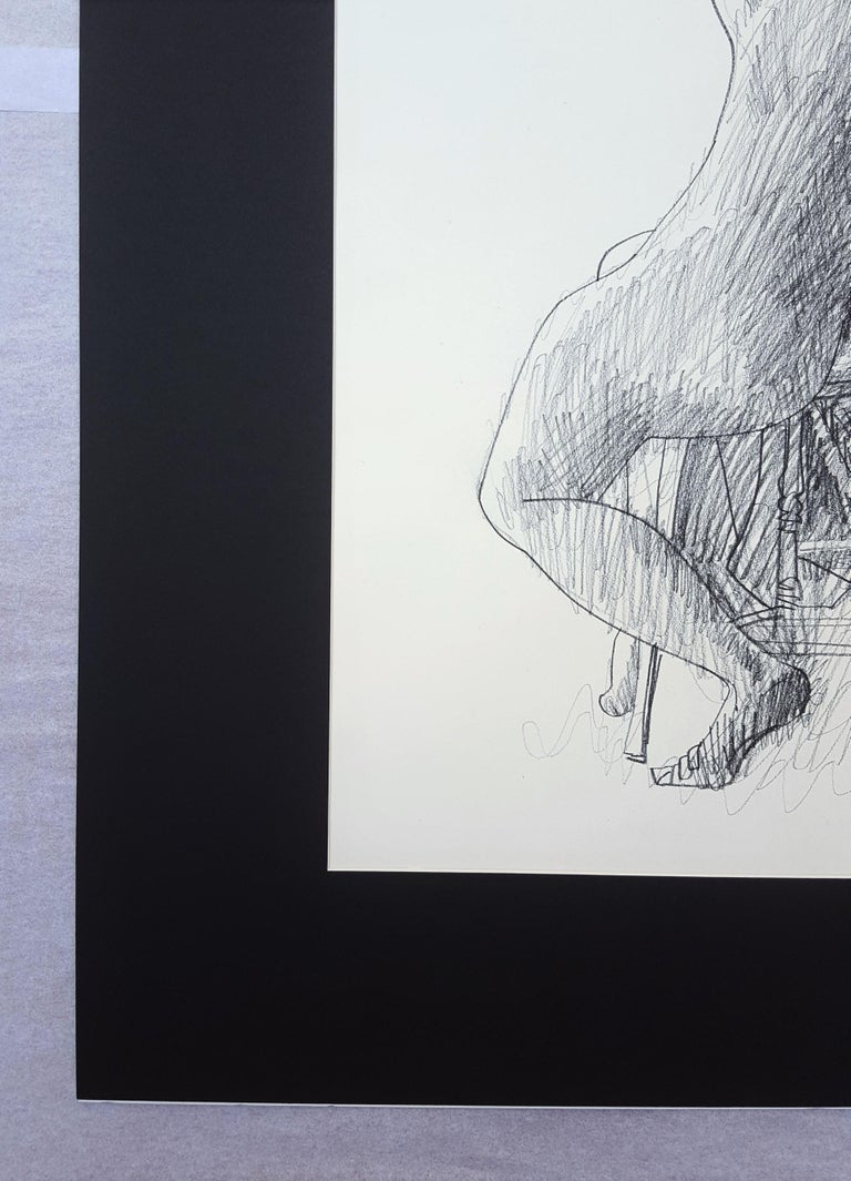 An original signed pencil drawing on wove paper by American artist Byron Browne (1907-1961) titled