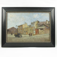 French Urban Street Scene Oil on Canvas Painting