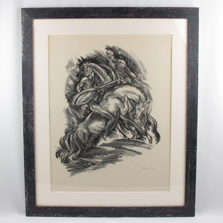 Tales of the Parrot Illustration Charcoal Drawing Lithograph Print For Sale 6