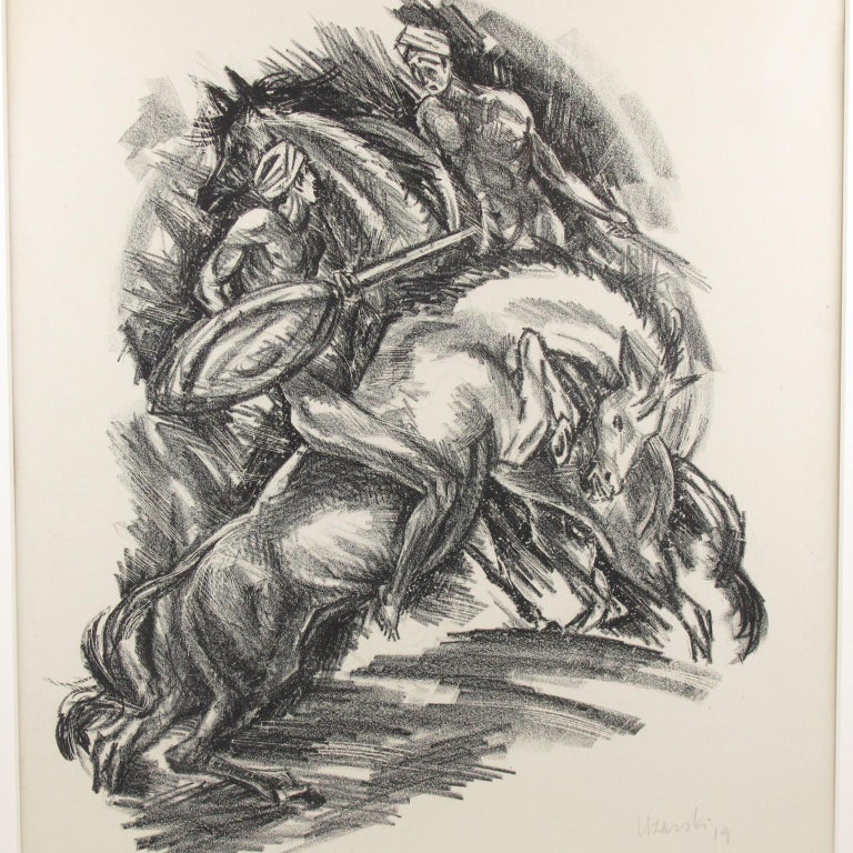 Stunning charcoal drawing lithograph print on paper depicting two riders in a wild dance or fight, designed by Adolf Uzarski (1885-1970), a German artist. This drawing is from a set of 5 lithographs made to illustrate scenes from the 14th century