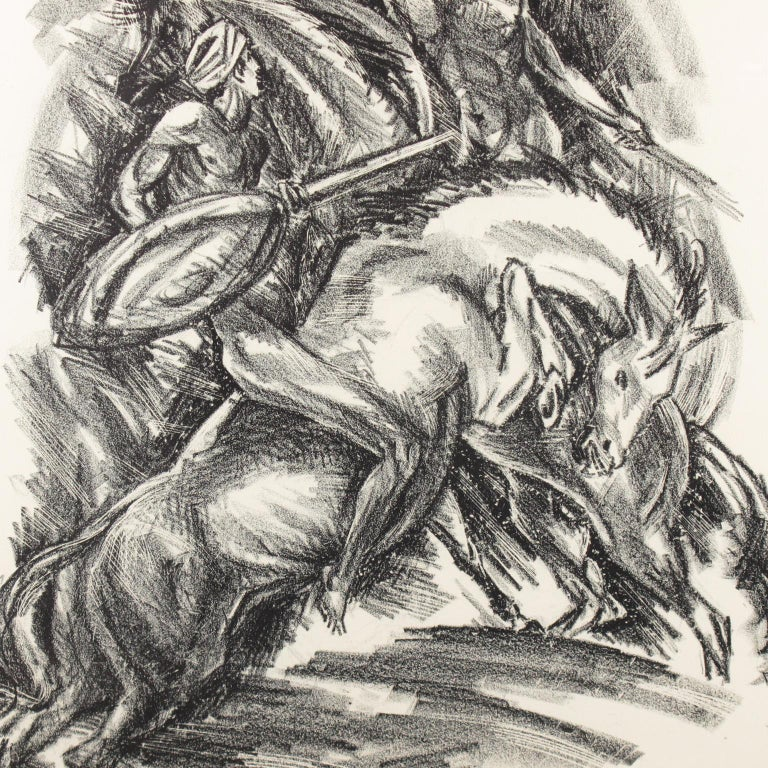 Tales of the Parrot Illustration Charcoal Drawing Lithograph Print For Sale 2