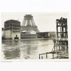 Paris International Exhibition w Eiffel Tower  - Silver Gelatin B & W Photograph
