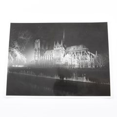 Notre Dame de Paris Cathedral by Night Silver Gelatin Black & White Photograph