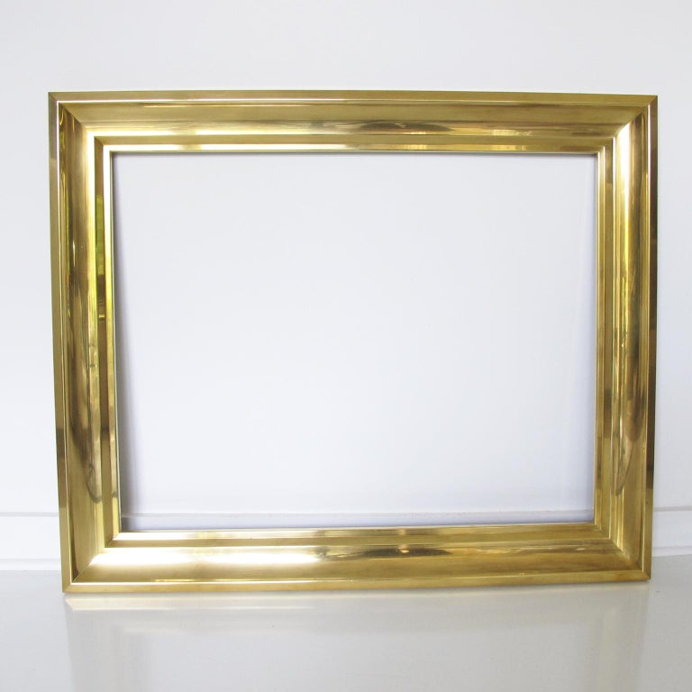 French 1940s Modernist Polished Brass Frame for Painting Drawing or Mirror For Sale 1