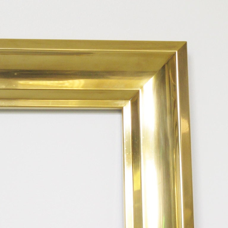 French 1940s Modernist Polished Brass Frame for Painting Drawing or Mirror For Sale 2