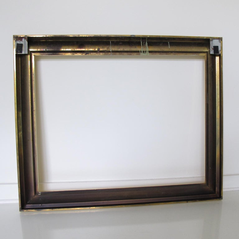 French 1940s Modernist Polished Brass Frame for Painting Drawing or Mirror For Sale 3