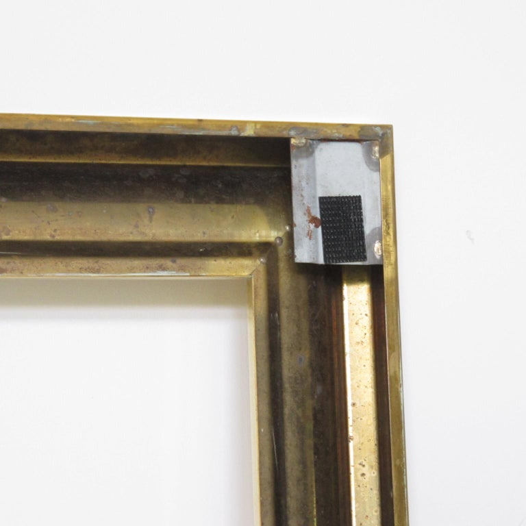 French 1940s Modernist Polished Brass Frame for Painting Drawing or Mirror For Sale 4