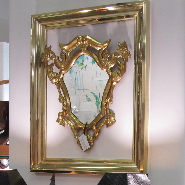 French 1940s Modernist Polished Brass Frame for Painting Drawing or Mirror For Sale 6