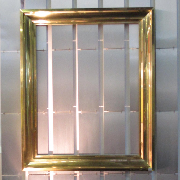 French 1940s Modernist Polished Brass Frame for Painting Drawing or Mirror For Sale 7