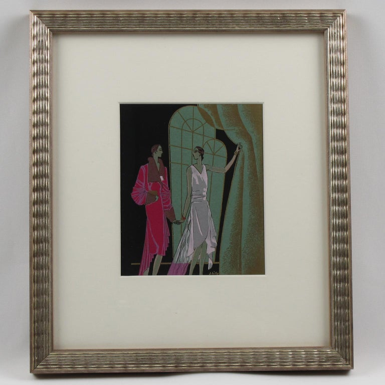 Original French Art Deco Ink and Gouache Illustration Drawing by J. Hilly For Sale 6