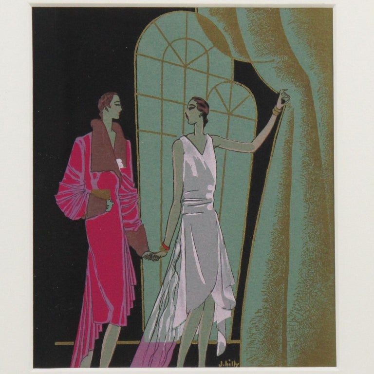 Original French Art Deco Ink and Gouache Illustration Drawing by J. Hilly For Sale 2