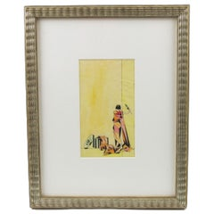 French Art Deco Cubist Pencil on Tracing Paper Colorful Illustration Drawing
