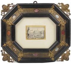 Original Etching by Jacques Callot Italian Bronze & Stone Renaissance Frame