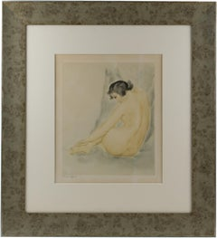 Asian Nude Study Watercolor on Paper Drawing by Rotislaw Raccoff