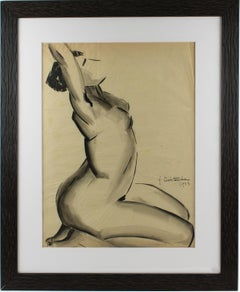 1920s Female Nude Study Black Pencil on Tracing Paper Drawing by G. Debotoiyche