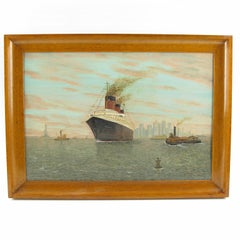 SS Normandie Transatlantic Ocean Liner in New York Oil on Board Painting