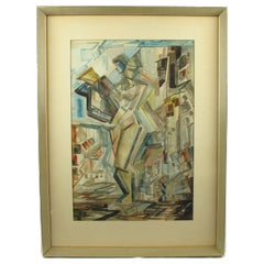 American Modernist Nude Female Cubist Watercolor Painting