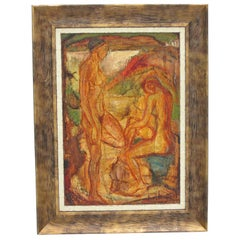 French Naked Bathers Cubist Oil on Canvas Painting - Les Baigneuses Au Rocher