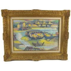 Seaside Pointillist Oil on Canvas Painting - Le Cimetiere des Vieux Bateaux
