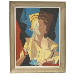 Woman with Cup of Coffee Cubist Gouache on Board Painting