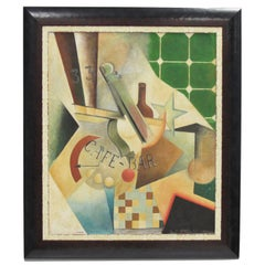 Russian School Art Deco Cubist Gouache and Collage on Board Painting